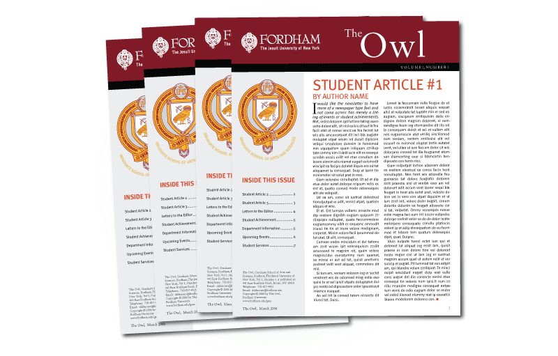 Newsletter design for Fordham University