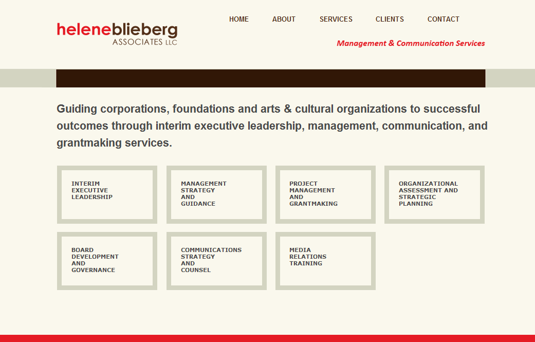 Web design for HeleneBlieberg.com