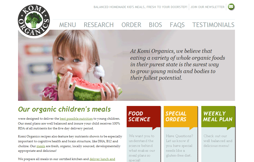 Web design for KomiOrganics.com